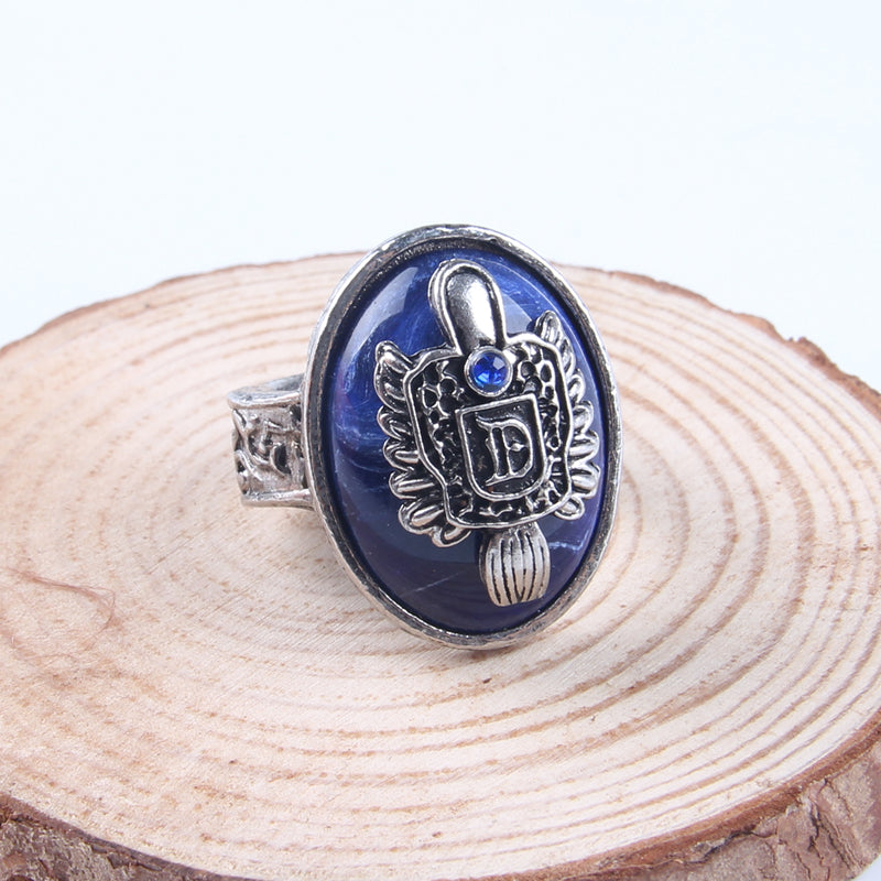 AE-CANFLY The Vampire Diaries Vintage Ring Damon Salvatore Sun Protectation  Antique Silver Rings for Women US 8 2D3008