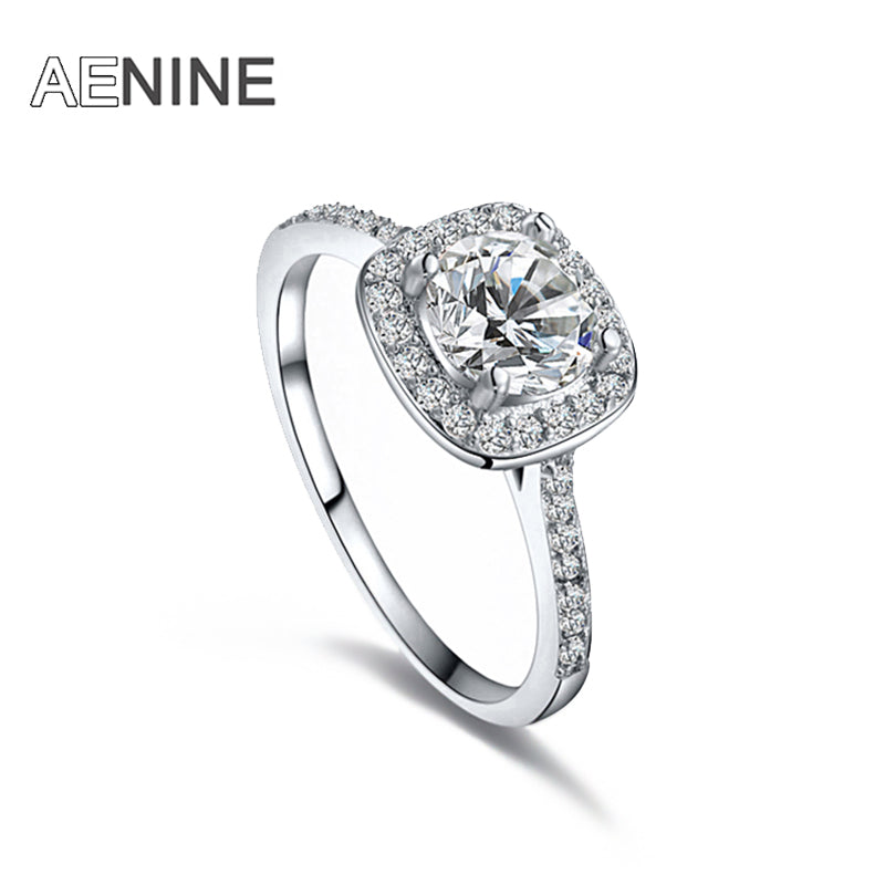 AENINE Luxury 1Ct Cubic Zirconia Wedding Rings Jewelry Mosaic Rhinestone Crystal Engagement Ring For Women Anneaux L101009438