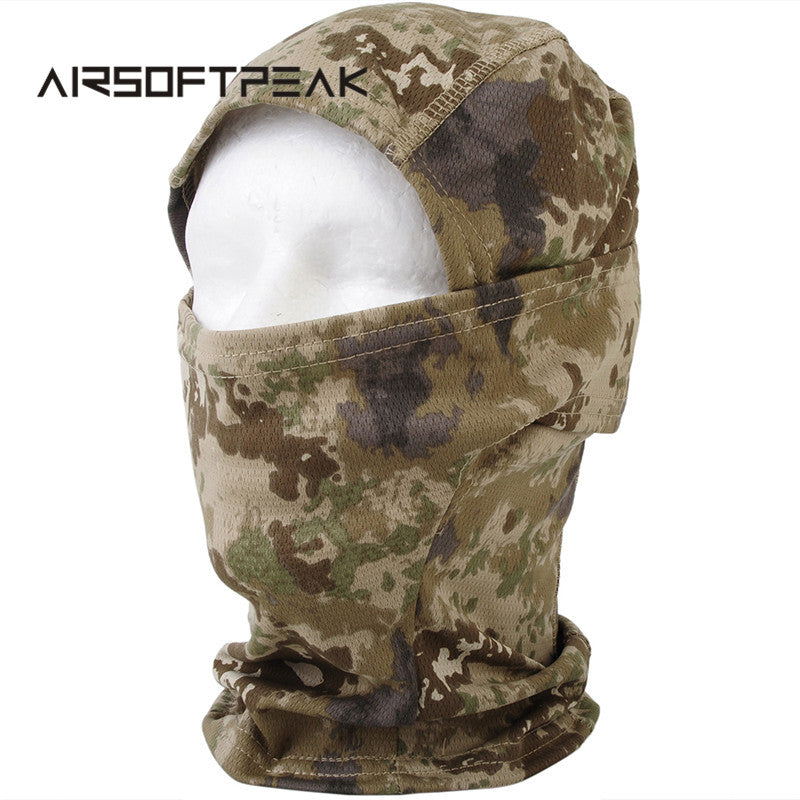 AIRSOFTPEAK Tactical Full Face Mask Hood Balaclava Headgear Caps Camouflage Hunting Hat Winter Neck Warm Headwear Masks Scarf