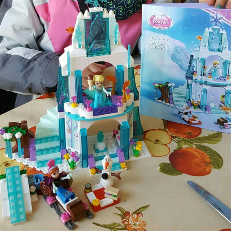 AIUNCI Toys 316pcs Dream Princess Elsa's Ice Castle Building Blocks Princess Anna Olaf Set Gift Toys For Children
