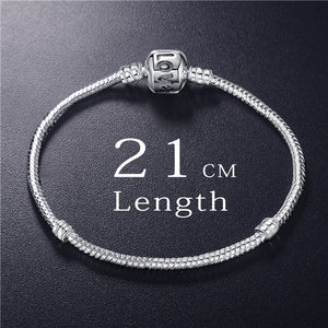 ANFASNI New Fashion Love Snake Chain Silver Color Fit Original Charm Bracelet Bangle Charm Bead For Women Gift 17CM-21CM