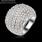 ANFASNI Wholesale Ball Shaped Silver Color Ring Jewelry Micro Pave Genuine SWA Stellux Austrian Crystal Full Ri-HQ0164