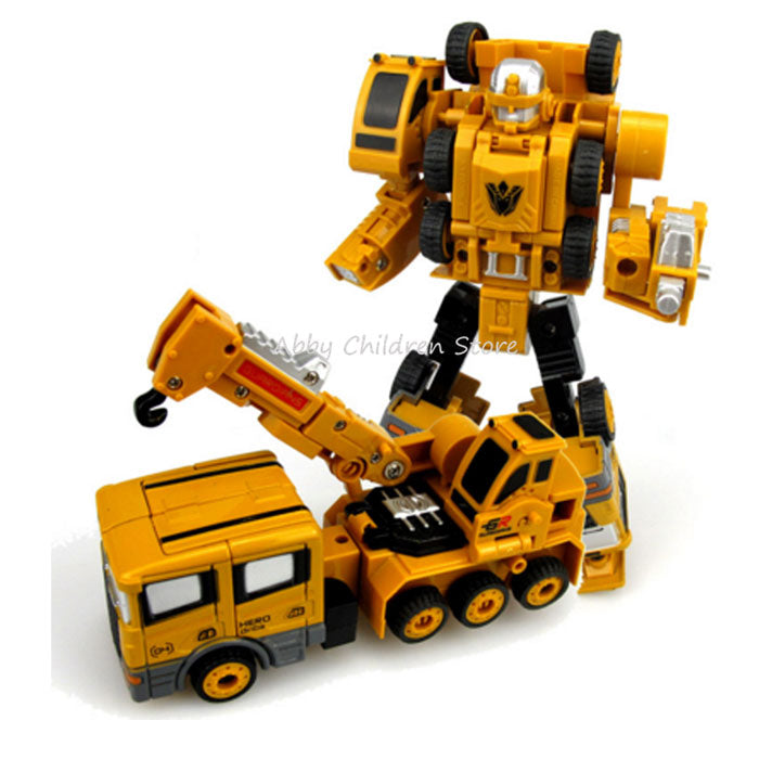 Abbyfrank Engineering Transformation Car Toy 2 in 1 Metal Alloy Construction Vehicle Truck Assembly Robot Car Kid Toys Boys Gift