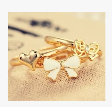 Accessories Multicolour Glaze Heart Bow Cutout Ring Finger Ring 3 Piece set