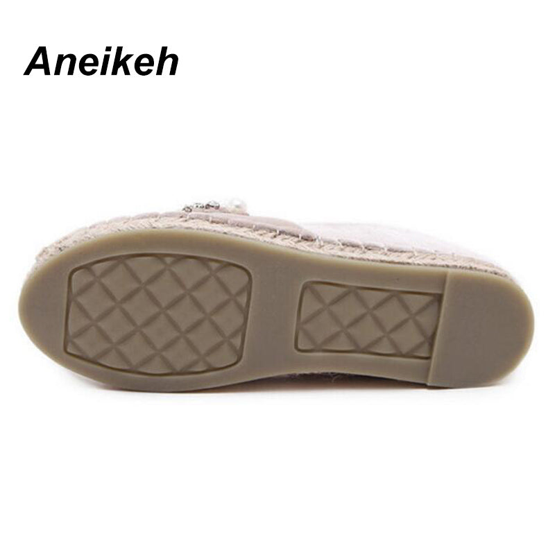 Aneikeh 2017 Spring Autumn Women Loafer Round Toe Espadrilles Pearl Comfortable Hemp Bottom Women Shoes Slip On Zapato Mujer