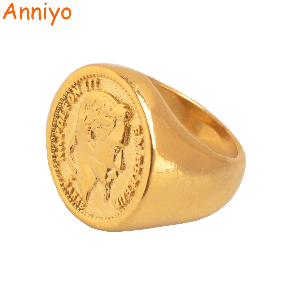 Anniyo New Turkish Coin Ring Gold Color and Copper Metal Ring for Women/Men,Arab Turkey Wedding Big Rings Jewelry Gifts #097106