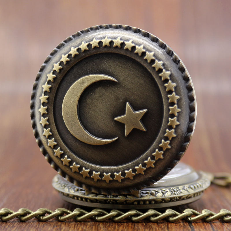 Antique Bronze Turkish Flag Design Moon and Star Theme Quartz Pocket Watch With Necklace Chain