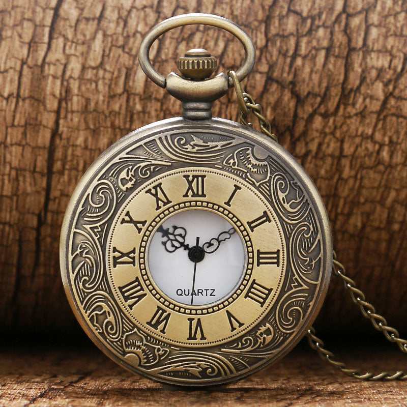 Antique Vintage Bronze Roman Number Necklace Quartz Pocket Watch Chain P08 birthday gift