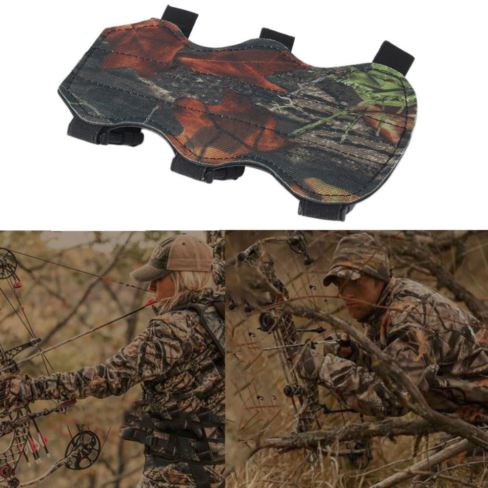 Archery Bow Arm Guard Protection Forearm Safe 3-Strap Camo Leather New free shipping
