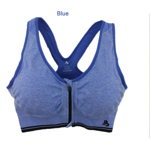B.BANG Plus Size Women Sports Bra Zipper Front Padded Push Up Shockproof Wirefree Tops Gym Fitness Running sujetador deportivo