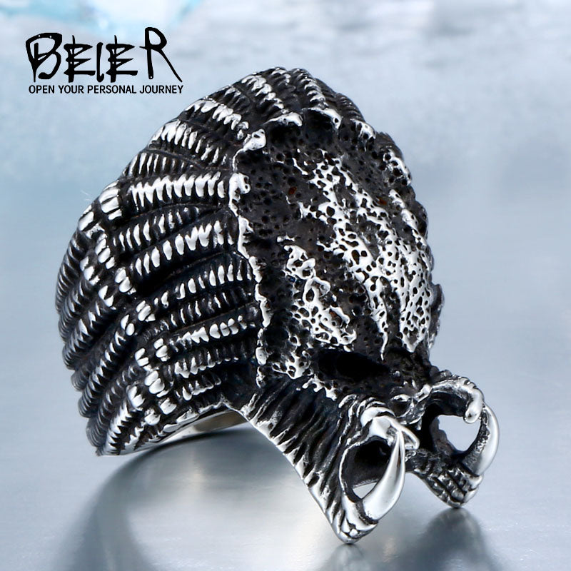 BEIER 2017 Alien Predator Finger For Men Gothic Style Movie Ring Stainless Steel Jewelry drop shipping BR8-451