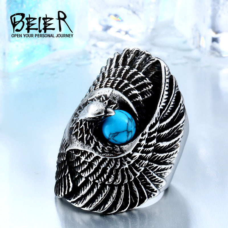 BEIER Eagle Bird Amor Animal Stainless Steel Punk Long Big Ring For Girl Wholesale Factory Price BR8-144
