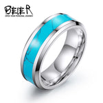 BEIER Vintage Retro Unisex Blue For Man Woman Stainless Steel Geometric Stone Ring Trendy Finger Jewelry BR-R055