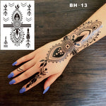 #BH-13 Funky Black Boho Style Henna Temporary Tattoo for Hands Inspired Body Stickers