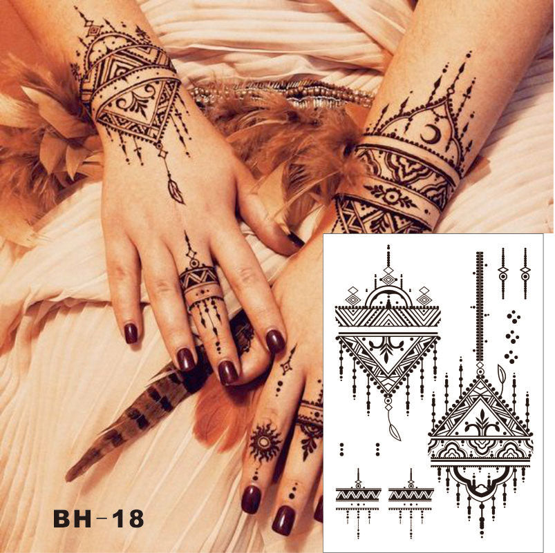 #BH-18 Triangle Simple Black Henna Temporary Tattoo for both Hands Inspired Body Sticker
