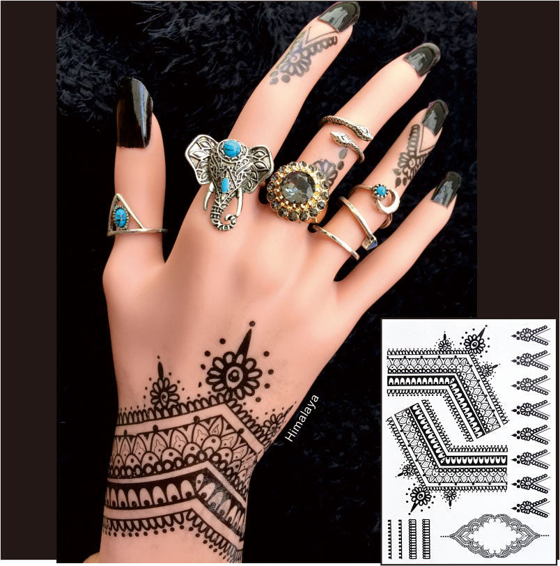 #BH-9 The Most Popular Black Henna Tattoos Temporary Inspired Body Tattoos Stickers