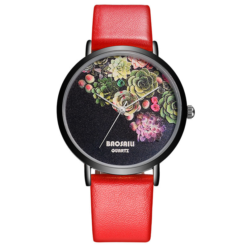 BSL1011 BAOSAILI Floral Design Black Case Japan PC21 Movt Water Resistant Life Watch Women Relogio Feminino FREE Back Engrave