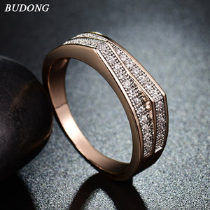 Budong Fashion For Valentine Gift Gold Color Ring Crystal Cubic