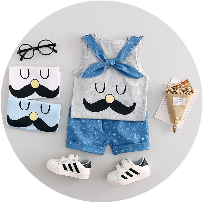 Baby Boy Clothes 2017 Summer High quality cotton baby clothing set 2pc for 1 2 3 years old boys vest suit A021-108