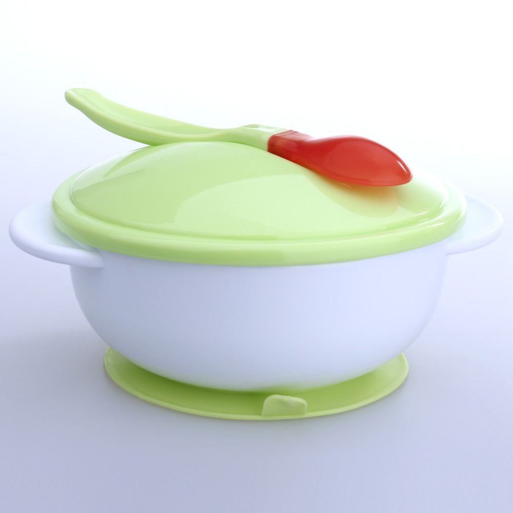 Baby Infants feeding Bowl With Sucker and Temperature Sensing Spoon Suction Cup Bowl Slip-resistant Tableware Set