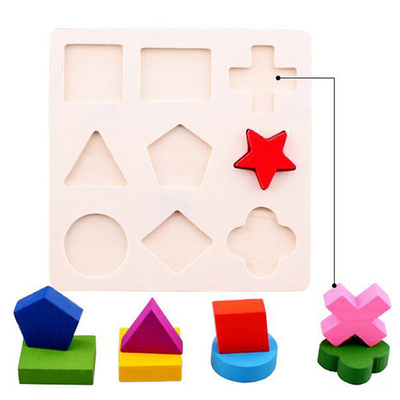 Baby Kids Wooden Learning Geometry Educational Toys Puzzle Children Early Learning 3D Shapes Wood Jigsaw Puzzles