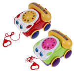 Baby Telephone Toy Colorful Plastic Children's Learning Fun Music Phone Toy Basics Chatter Telephone Classic Kids Pull Toy