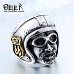 Beier Motorcycle Man With Plated-Gold Stainless Steel Unique Route 66 MC Club Biker Ring drop shipping BR8-378