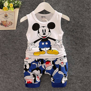 e5ba24fa325 BibiCola 2017 New Cartoon Summer Baby Boy Clothing Set Tank Top + Shorts  Kid Boy Summer