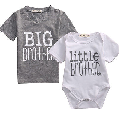 Big/Little Brother Matching Top T-shirt Newborn Baby Boy Romper Bodysuit Outfits