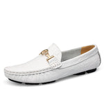 Big Size 38-50 Mens Soft Leather Loafers Shoes Autumn Spring Men's Flats Men Slip On Moccasins Metal Driving Shoes