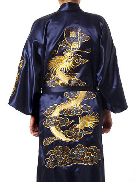 Black Chinese Men's Traditional Embroidery Satin Robe Dragon Kimono Bath Gown Male Sleepwear Plus Size XXXL S0011