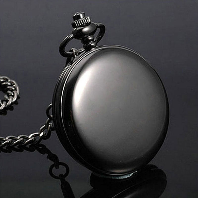 Black Smooth Steampunk Pocket Watch Stainless Steel Pendant 30CM Chain With Box P200C+W