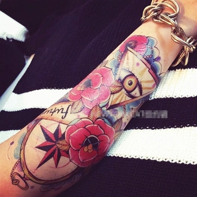 Body Art Beauty Makeup Pink Sexy Triangle Eyes Tattoo 8D Waterproof Temporary Tattoo Stickers