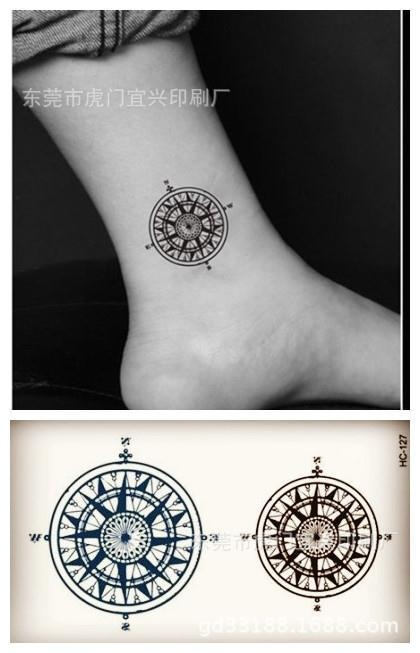 Body Art waterproof temporary tattoos for men and women fashion 3d compass design small tattoo sticker Wholesale HC1127