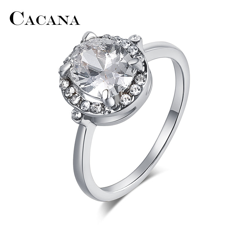 CACANA Big Cubic Zirconia Rings For Women Round Trendy Zinc Alloy Rings Jewelry Bijouterie Wholesale NO.R555