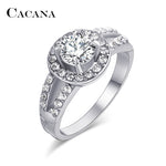 CACANA Shinning Cubic Zirconia Rings For Women Delicate Setting Trendy Zinc Alloy Rings Jewelry Bijouterie Wholesale NO.R521