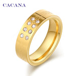 CACANA Titanium Stainless Steel Rings For Women 8 CZ On Fashion Jewelry Wholesale NO.R97