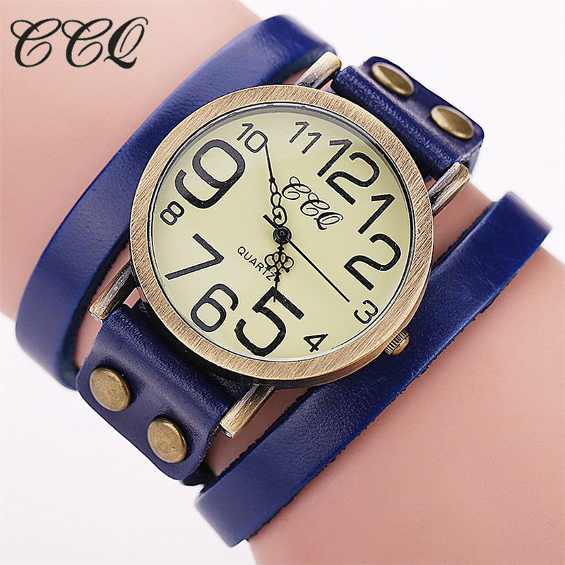CCQ Brand Fashion Vintage Cow leather Bracelet Watches Women Wristwatch Quartz Watch Relogio Feminino 1373