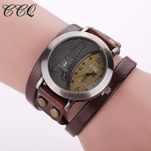 CCQ Brand Vintage Tower Watch Genuine Leather Bracelet Watches Casual Women WristWatch Quartz Watch Relogio Feminino 1292