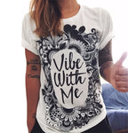 CDJLFH 2017 Summer Newest 10 Colors Women Print T Shirt Round Neck Short Sleeve White Shirt Tops