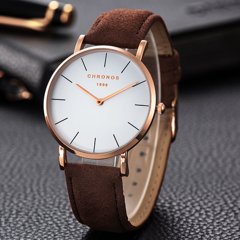 CHRONOS 1898 Luxury Watch Men Women Rose Gold Silver Casual Quartz-Watch Leather Watche 40mm Clock Relojes Mujer Montre Femme