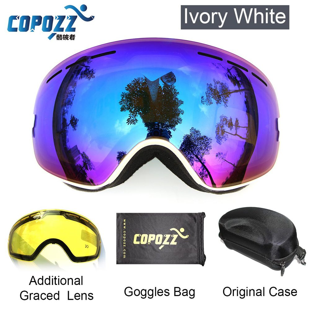 COPOZZ brand ski goggles 2 double lens anti-fog UV400 big large spherical snowboard glasses men women skiing snow goggles Set