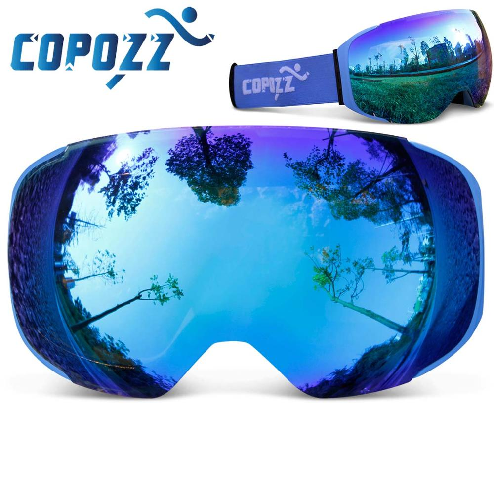 eac2fdb10d0 COPOZZ brand ski goggles replaceable magnetic lenses UV400 anti-fog ski  mask skiing men women