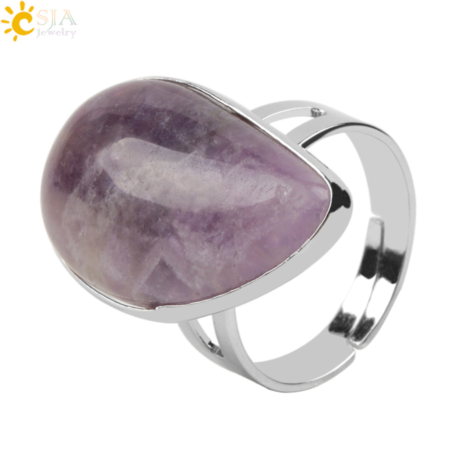 CSJA Reiki Healing Natural Stone Water Drop Rings for Women Mens Finger Ring Purple Pink Quartz Tiger Eye Wedding Jewellery E870