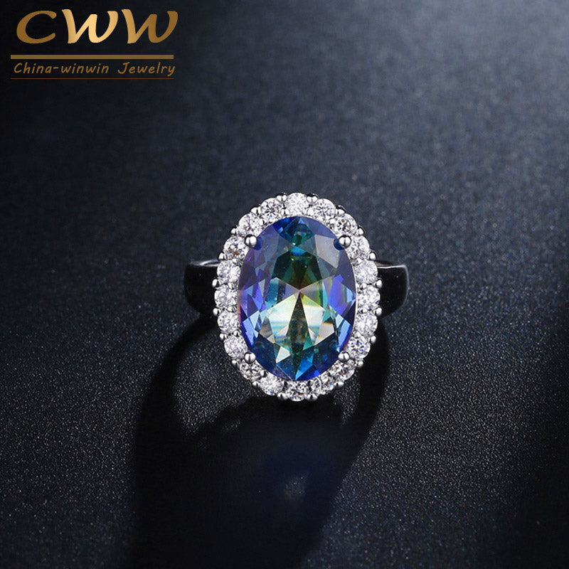 CWWZircons Top Quality Big Oval Cut Light Blue Mystical Rainbow Fire Crystal Wedding Band Ring Jewelry For Women R100
