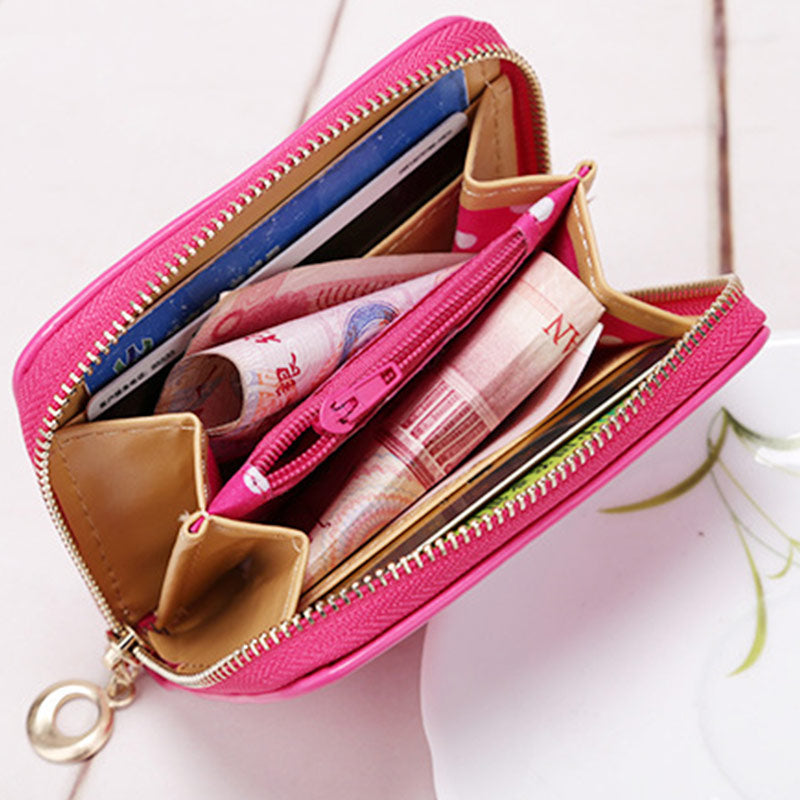 Candy Color Bow Design Women Leather Wallet Short Slim Mini Money bag Wallet Coin Card Purses Holders Clip Female