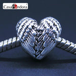 CasaPandora Fashion European Silver-colored Heart Angel Wings Fit Bracelet Charm DIY Jewelry Making