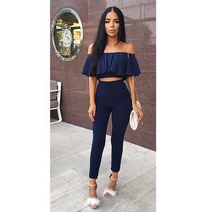 2e5a68c1f Casual Women Suits Sexy Two Piece Outfits Girls Crop Top And Long Pants 2  Piece Women