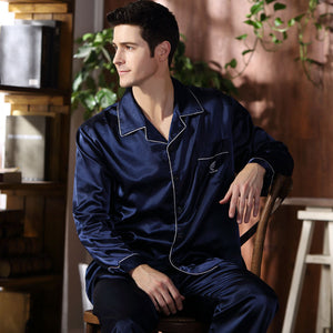 CherLemon High Quality Silk Men Pajamas Sleepwear Long-Sleeved Silk Satin Nightwear Soft Spring Autumn Pyjamas Plus Size M-4XL