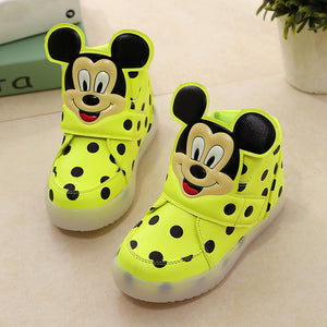 Children Shoes With Light Popular in Europe Boys Shoes Autumn Winter Dot Cartoon Led Sport Girls Sneakers Kids Shoes Size 21-30